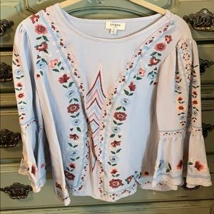 Embroidered Flowy Top